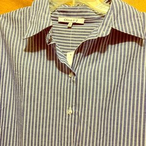 Tops - Blue and White Striped Blouse